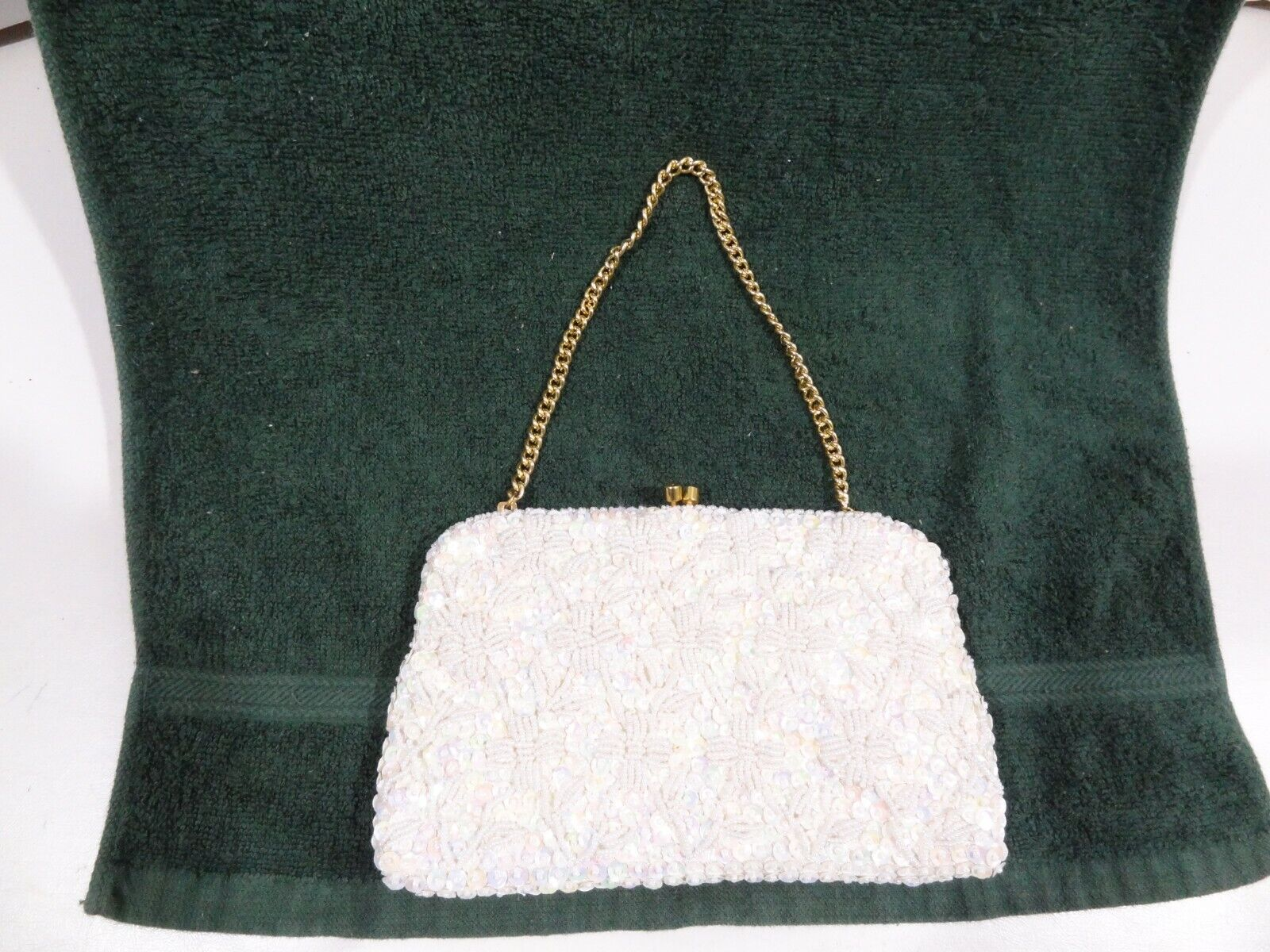 Vintage White Hand Beaded Sequined Purse Clutch Hong Kong w/ Snap Close & Chain