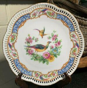 "Schumann Bavaria 7 3/4"" Pierced Plate Chelsea Birds Arzberg, Germany - Excellent"