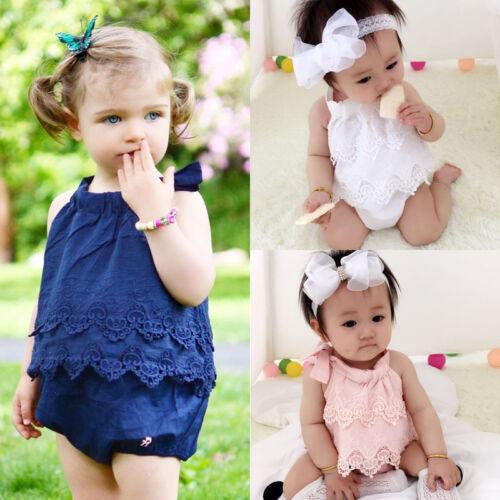 UK Cute Toddler Baby Girls Lace Romper Bodysuit Jumpsuit Outfit Sunsuit Clothes
