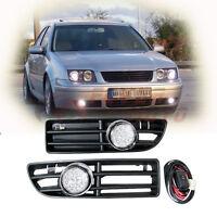 For VW Jetta / Bora MK4 1999-2004 LED Fog Lamp Light Front Bumper Grille Kit FM