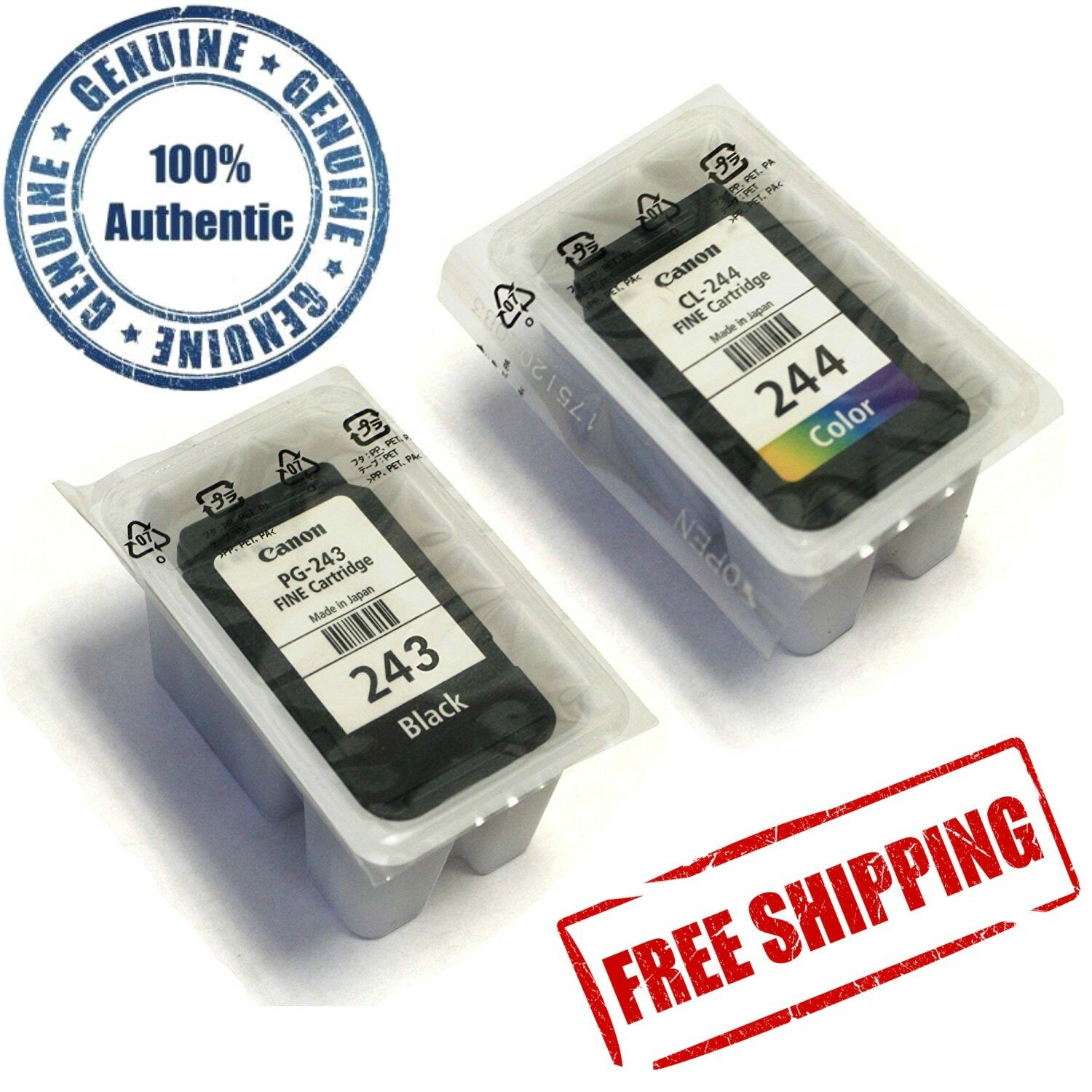 Pair Of Genuine Canon Ink Cartridge Cl 244 Color And Pg 243 Black 57 Original Norton Secured Powered By Verisign