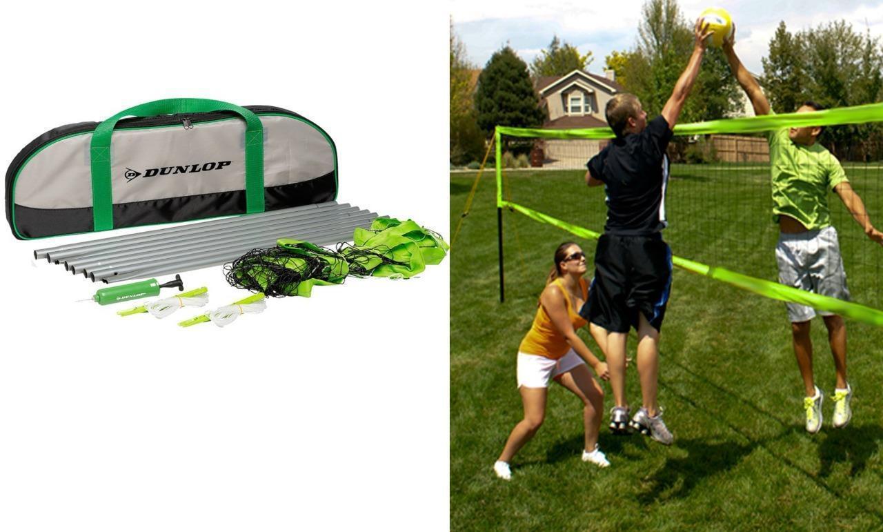 DUNLOP Volleyball Volleyball Volleyball tragbar Set Sport Jagen mit Netz, Ball, Nylon Tragetasche 754648