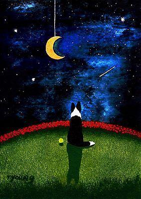 BORDER COLLIE Dog Landscape Stars Folk Art PRINT Todd Young MOON on a STRING