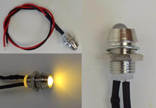 12V Anschlußfertig C2693 LED Warm-Weiß 3mm Chrom Metall Fassung Schraube  9V