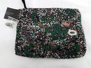 clutch smaragdgroene geruite bag etnische handbagage Zara geborduurde pPznw