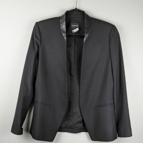 Club Monaco leather trim blazer Jacket Black Fitte