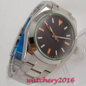 40mm-PARNIS-steril-dial-Saphirglas-Edelstahl-Automatisch-Movement-Uhr-mens-Watch