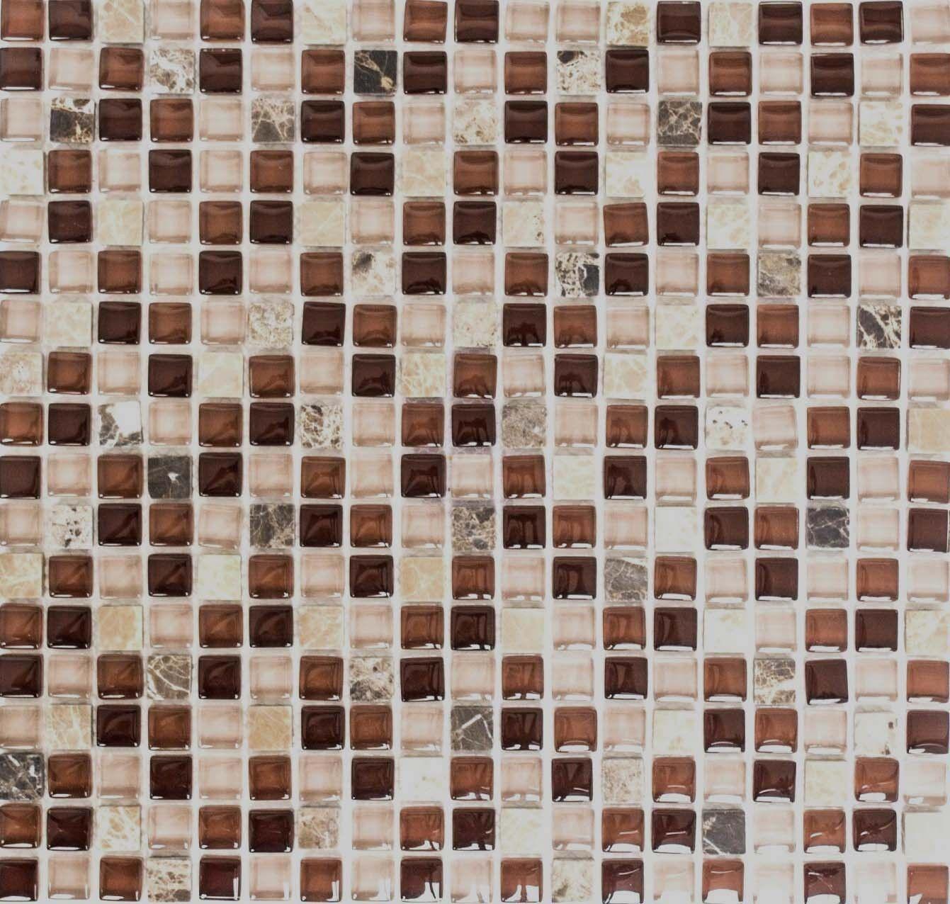 Mosaïque translucide cristal brique pierre verre brun mur 92-1304_f   10 plaques