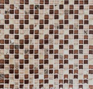 Détails sur Mosaïque translucide cristal brique pierre verre brun mur  92-1304_f | 10 plaques