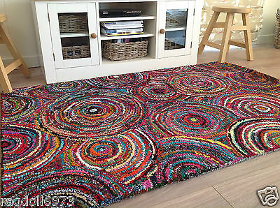 ❤️Thick Tufted Hooked Rag Rug with Backing 120cm x 180cm Fair Trade Hessian Back