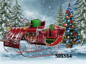 Details About 7x5ft Xmas Sleigh Snow Forest Vinyl Photography Backdrop Background Studio Props