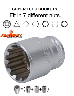 "7//8/"" ANSI//ASME B107.1 Jonnesway 11 Pcs 3//8/"" Drive 6Pt Deep SAE Socket Set 1//4/"""