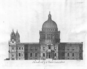 Antique-maps-The-south-side-of-St-Pauls-London-cathedral