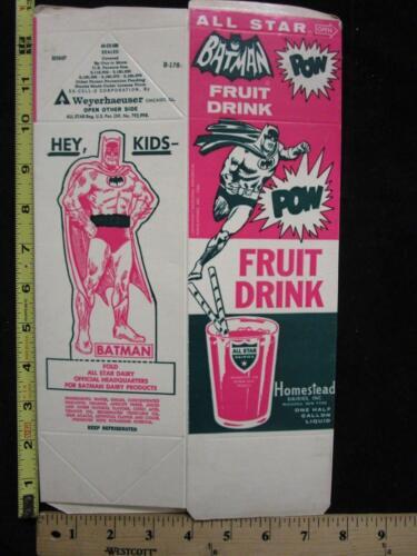 Vtg 1966 Batman All Star Fruit Drink Juice Container Box Cutout Batman /& Mask
