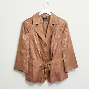 Lane Bryant Gold Brocade Waist Tie Blazer Jacket Size 16