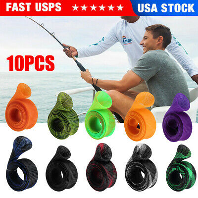 Fishing Rod Cover Spinning Casting Fish Pole Mesh Sleeve Sock Gloves Protector