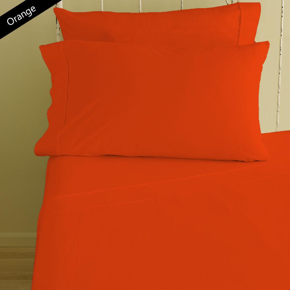 Duvet Cover Set King Größe Orange Solid 1000 Thread Count 100% Egyptian Cotton
