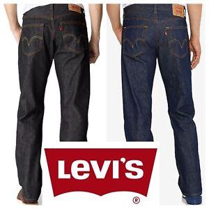 Levis-501-ORIGINALE-Strizzacervelli-Per-Adattarsi-Bottone-Jeans-Blu-Rigido-Nero