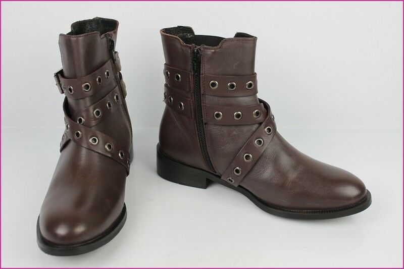 Boots Booties ESPRIT Leather Synthetic Brown T 37 Mint
