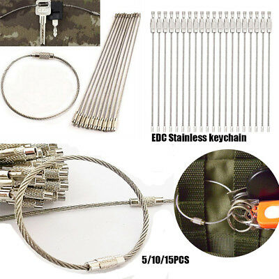 EDC Stainless Steel Wire Keychain Cable Key Ring Chain Outdoor Holder Tools