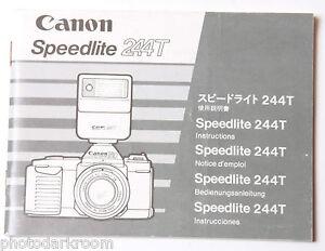 canon speedlite 244t instruction manual book en ja fr de sp used rh ebay com Canon Speedlite 430EX II Canon Speedlite 430EX II Review