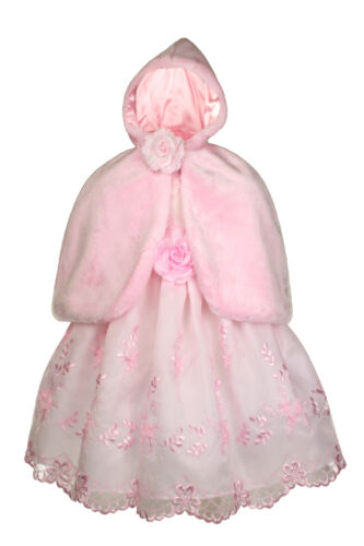 New Baby Girl Faux Fur Hooded Cape PINK  for Easter Formal Dress New Born to 3T