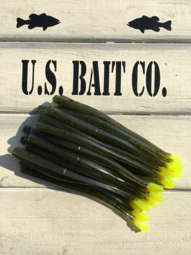 """Straight Tail 4.5"""" Green Pumpkin Blk Flk Chartreuse Tail Lot Of 25 Worms Dshot"""