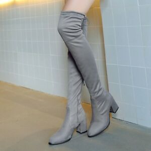 Women-Micro-suede-Thigh-High-boots-Block-Thick-heel-Stretch-Over-the-knee-Boots