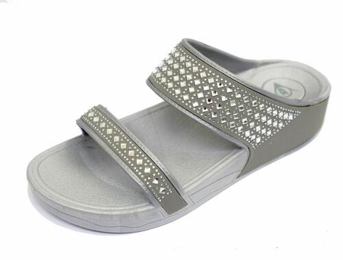 LADIES GREY DUNLOP PLATFORM WEDGE SANDALS FIT SUMMER ACTIVE WALKING SHOES 3-8