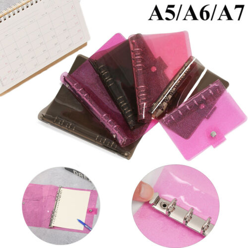 Glitter Black Pink Planner Clips Notebook Cover File Folder Loose Leaf Binder