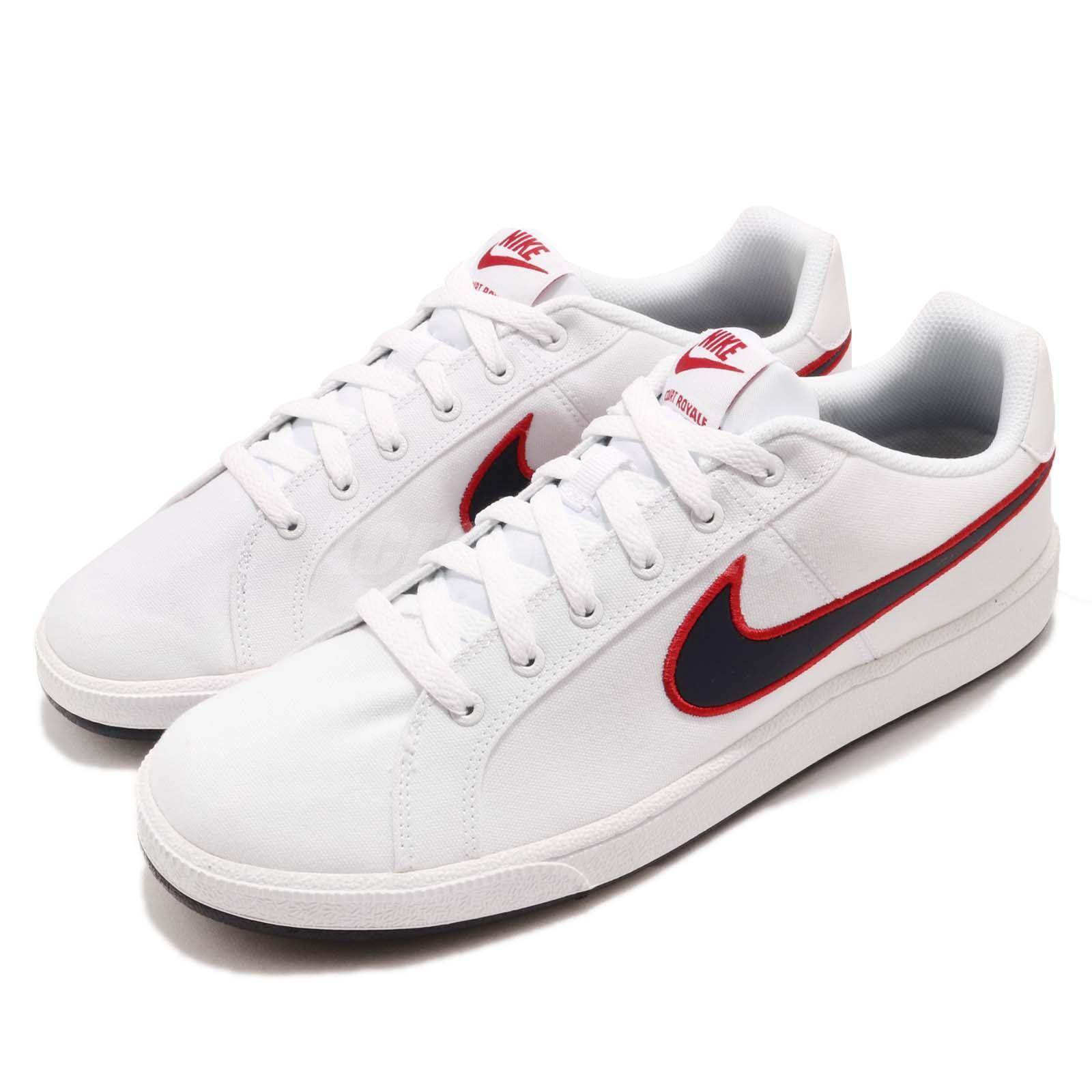 Nike Court Royale Canvas White Blackened Blue Red Men Casual Shoes AA2156-101