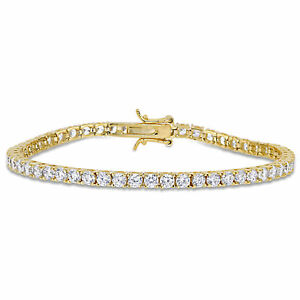 Amour Yellow Plated Silver Cubic Zirconia Tennis Bracelet
