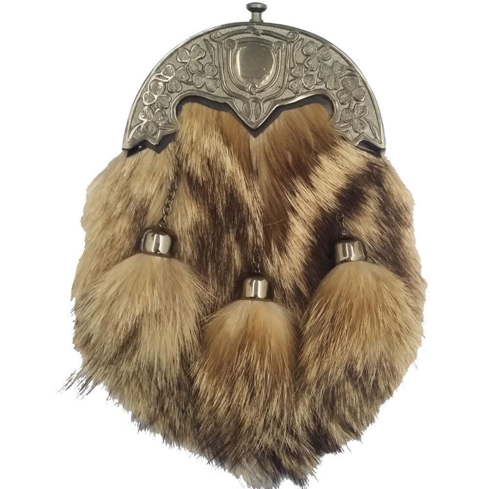 HM Men's Scottish Highland Full Dress Kilt Sporran Fox Fur Celtic Cantle Antique