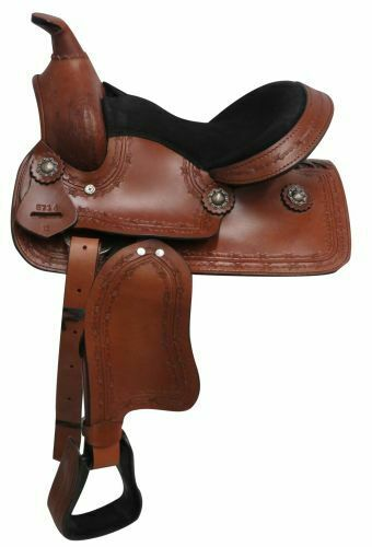 12  Economy PONY   YOUTH SADDLE Barbed Wire Tooled Leather SQHB