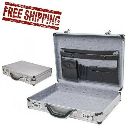 Aluminum Laptop Briefcase Silver Business Locks Attache Pockets Combination Hard