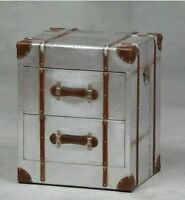 Silver Trunk Bedside Cabinet Industrial Chest Two Drawers Table