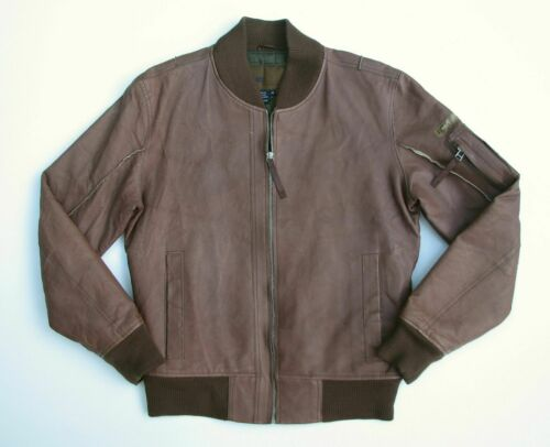 DIESEL Mens Medium Brown Leather Bomber Jacket