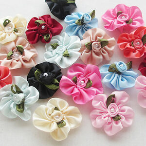 40pcs-U-Pick-stain-ribbon-flower-W-pearl-wedding-sewing-appliques-Lots-A651