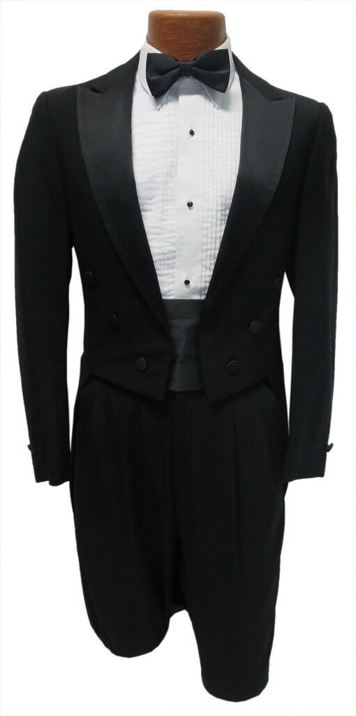 Men's Black Tuxedo Tailcoat Long Tails Full Dress Formal Wedding Mason 41 Short
