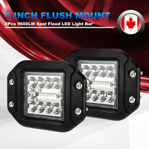 2Pcs 5Inch Flush Mount LED Pods 96W Spot Flood Work Light Offroad Driving Lights