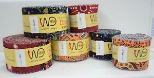 "Aboriginal Jelly Roll Indigenous Quilting Patchwork Dreamtime Roll 2.5/"" 20 Strip"