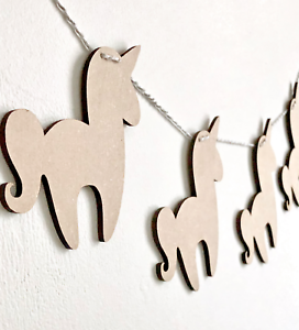 In legno Bunting Unicorno Bandiere Nursery Craft Garland SPAZI FORME IN LEGNO MDF