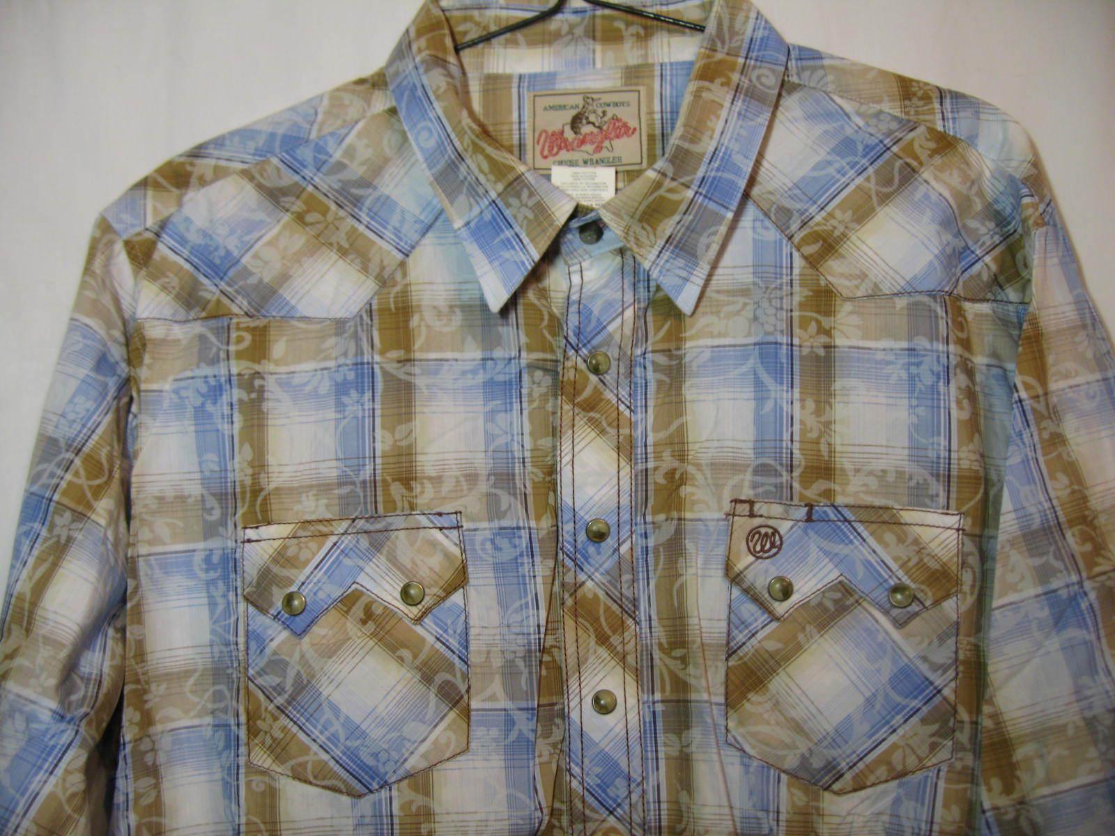 WRANGLER Western Cowboy Shirt Size Men's Size XXL Pearl Snaps Long Sleeve NEW