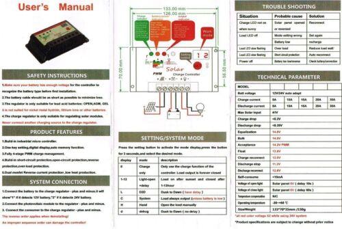 Panel Solar De 50w Flex etilenotetrafluoretileno 10A Cargador Cable 4m Controller Fuse Batería Clips