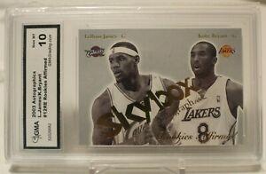 2003-Skybox-Autographics-Lebron-James-RC-Kobe-Bryant-GMA10-GEM-MINT-SP-INVEST