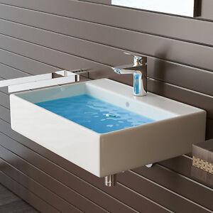 handwaschbecken weiss keramik waschtisch bad k che eckig waschbecken ebay. Black Bedroom Furniture Sets. Home Design Ideas