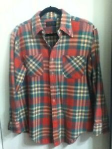 JC-Penney-Cotton-Flannel-Pearl-Button-Sleeve-Red-Orange-Purple-Green-White-L-16