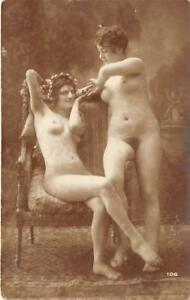RPPC-Nude-Women-Antique-Pin-Up-ca-1910s-Real-Photo-Vintage-Postcard