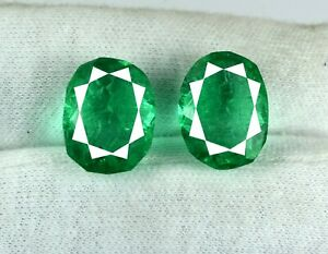 Zambian-Green-Emerald-18-20-Ct-Loose-Gemstone-Pair-Natural-Oval-AGI-Certified