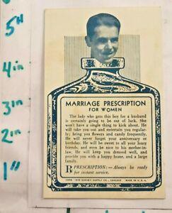 1938-Marriage-Fortune-Exhibit-Card-Prescription-for-Women-Chicago-IL-Nice-Shape